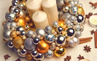Рождественский венок из стеклянных шариков — шаг за шагом