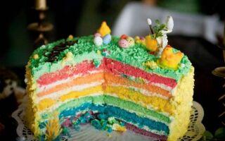 Радужный торт — рецепт вкусного, красочного десерта