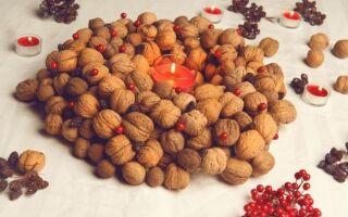 Праздничный венок из грецких орехов — шаг за шагом