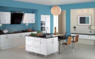 Голубой цвет на кухне — идеи, кухонные принадлежности (ФОТО)