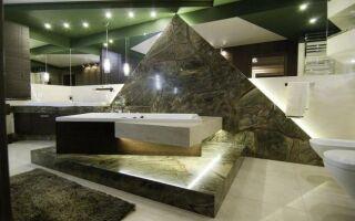 Камень в ванной. Смотрите фотографии интерьера
